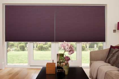 purple pleated blinds