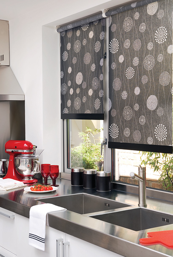 brown patterned roller blinds