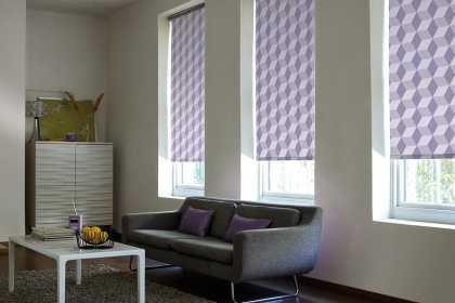 purple geometric roller blinds