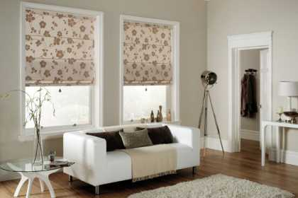 cream flower roman blinds