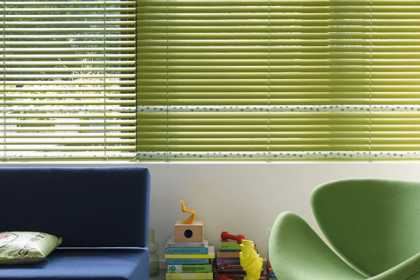 green Venetian blinds
