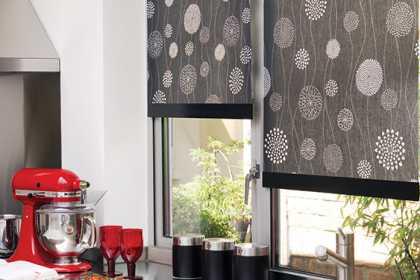 Roller blinds in kitchen