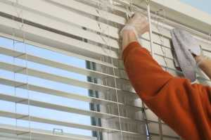 Woman cleaning window blinds with dust rag