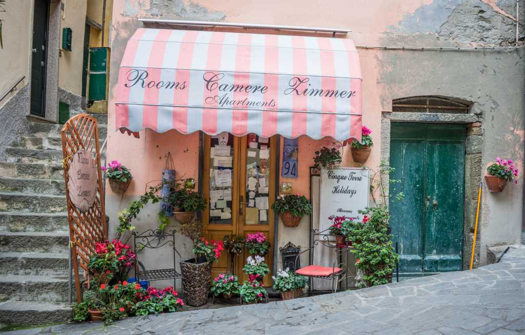 pink awning in Italy